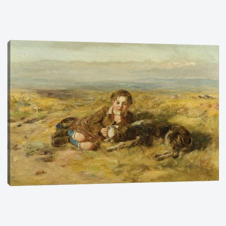 The Wee Herd Laddie [Formerly Catalogued As Boy And Dog], 1876 Canvas Print #BMN12165} by William McTaggart Canvas Wall Art