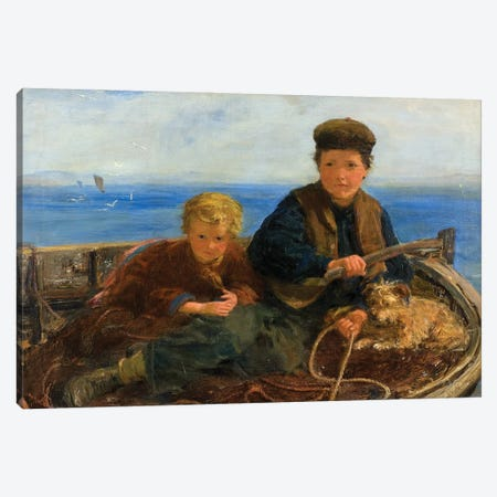 Two Boys And A Dog In A Boat, C.1871 Canvas Print #BMN12166} by William McTaggart Canvas Artwork