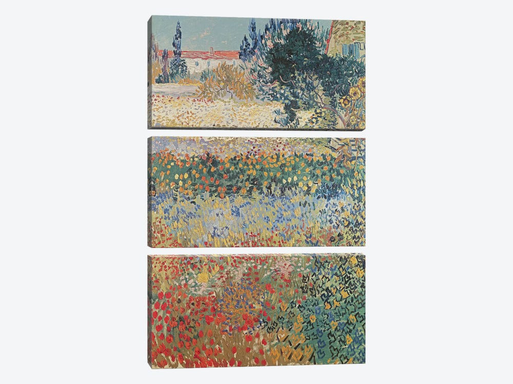 Garden in Bloom, Arles, July 1888  by Vincent van Gogh 3-piece Canvas Art Print