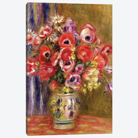 Vase of Tulips and Anemones, c.1895 Canvas Print #BMN1227} by Pierre-Auguste Renoir Canvas Art Print