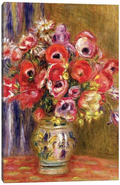 Vase of Tulips and Anemones, c.1895 Canvas Art Print