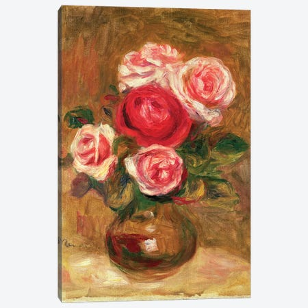 Roses in a pot 3-Piece Canvas #BMN1235} by Pierre-Auguste Renoir Canvas Wall Art