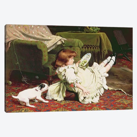 Time to Play, 1886 Canvas Print #BMN1238} by Charles Burton Barber Canvas Print