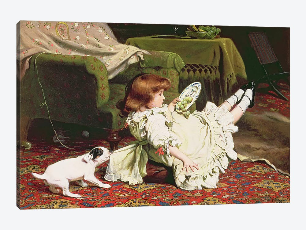 Time to Play, 1886 by Charles Burton Barber 1-piece Canvas Print