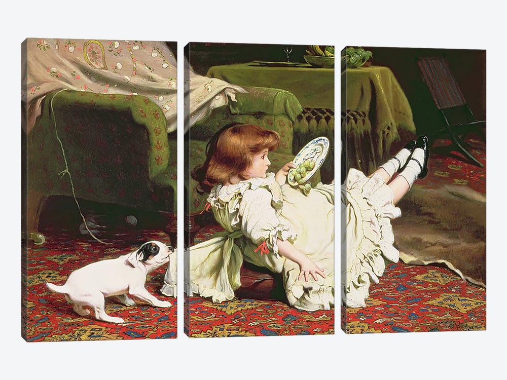 Time to Play, 1886 by Charles Burton Barber 3-piece Canvas Print