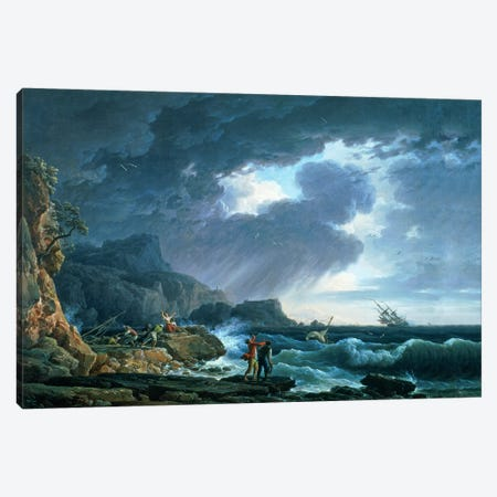A Seastorm, 1752 Canvas Print #BMN1239} by Claude Joseph Vernet Art Print