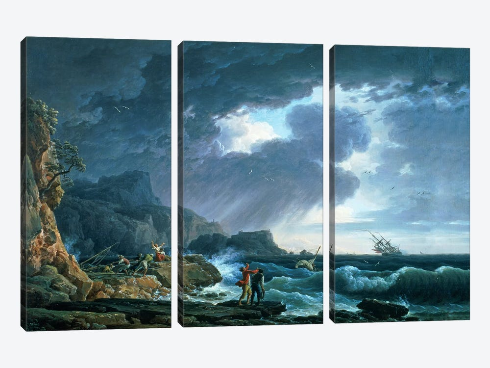 A Seastorm, 1752 by Claude Joseph Vernet 3-piece Canvas Art