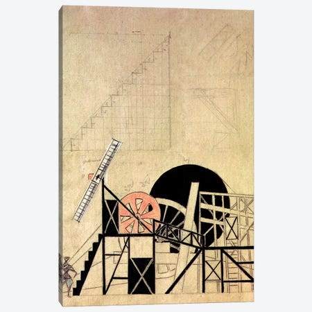 """Stage Set Design For The Play, """"The Magnaminous Cuckold"""", By F. Crommelynck, Meyerhold Theatre, Moscow, 1922 Canvas Print #BMN1244} by Lyubov Popova Canvas Art Print"""