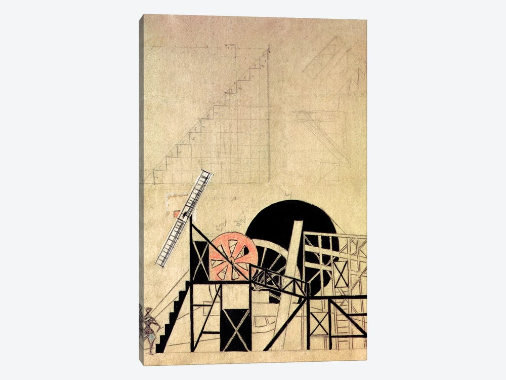 """Stage Set Design For The Play, """"The Magnaminous Cuckold"""", By F. Crommelynck, Meyerhold Theatre, Moscow, 1922 by Lyubov Popova 1-piece Canvas Art"""