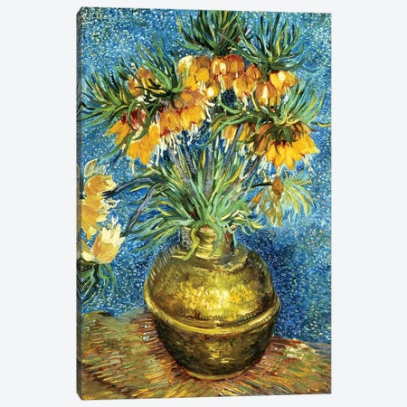 Crown Imperial Fritillaries in a Copper Vase, 1886  3-Piece Canvas #BMN1247} by Vincent van Gogh Art Print