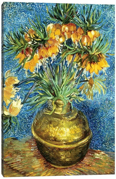 Crown Imperial Fritillaries in a Copper Vase, 1886  Canvas Art Print
