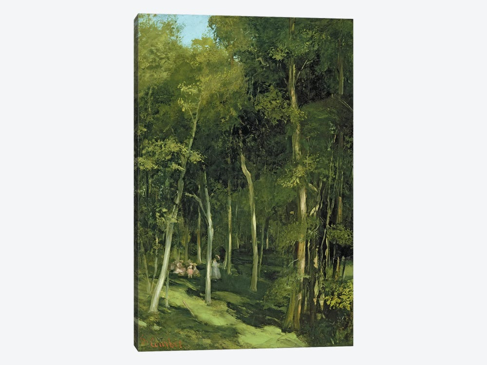 Beneath the Trees at Port-Berteau: Children Dancing, c.1862  by Gustave Courbet 1-piece Canvas Wall Art