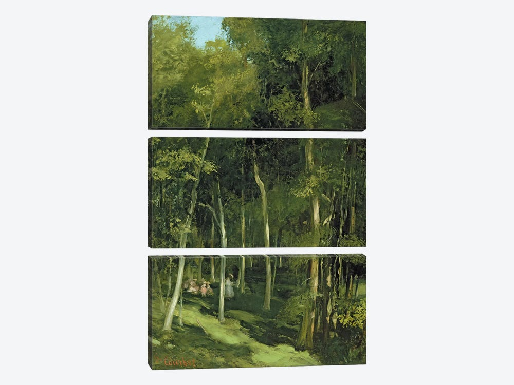 Beneath the Trees at Port-Berteau: Children Dancing, c.1862  by Gustave Courbet 3-piece Canvas Art