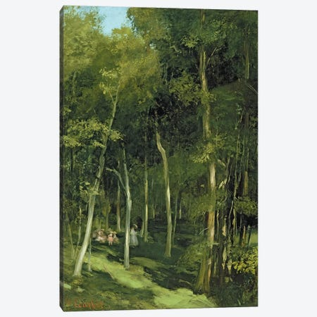 Beneath the Trees at Port-Berteau: Children Dancing, c.1862  3-Piece Canvas #BMN1248} by Gustave Courbet Canvas Wall Art
