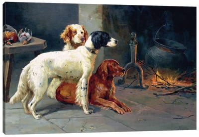 By the Fire  Canvas Art Print