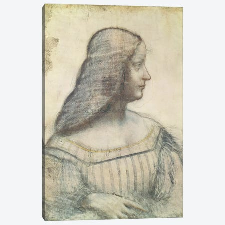 Portrait of Isabella d'Este  Canvas Print #BMN1260} by Leonardo da Vinci Canvas Wall Art