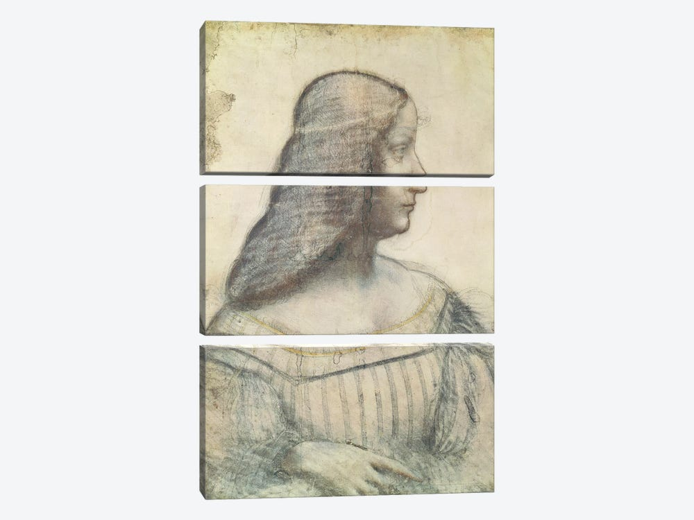 Portrait of Isabella d'Este  by Leonardo da Vinci 3-piece Canvas Artwork