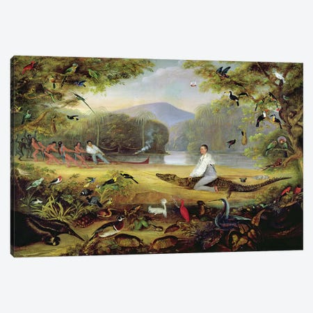 Charles Waterton capturing a cayman, 1825-26 Canvas Print #BMN1261} by Captain Edward Jones Canvas Art