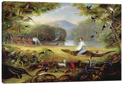 Charles Waterton capturing a cayman, 1825-26 Canvas Art Print