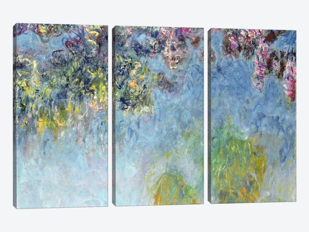 Wisteria, 1920-25 by Claude Monet 3-piece Canvas Art Print