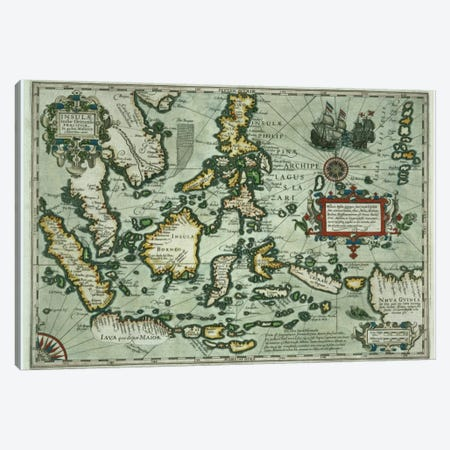 Map of the East Indies, pub. 1635 in Amsterdam  Canvas Print #BMN1276} by Dutch School Canvas Art