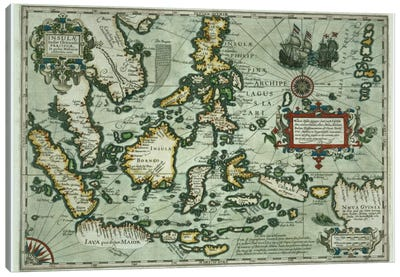 Map of the East Indies, pub. 1635 in Amsterdam Canvas Art Print