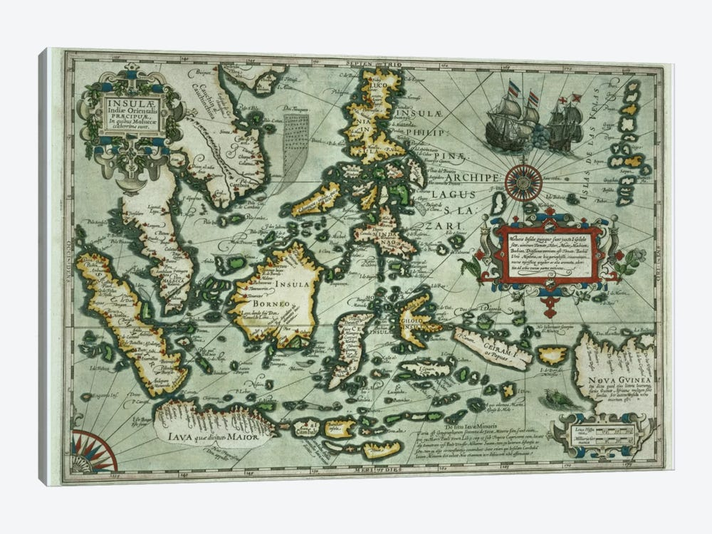 Map of the East Indies, pub. 1635 in Amsterdam  by Dutch School 1-piece Art Print