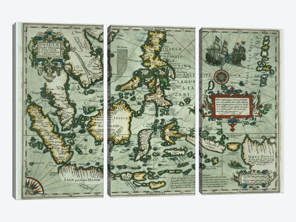 Map of the East Indies, pub. 1635 in Amsterdam  by Dutch School 3-piece Art Print