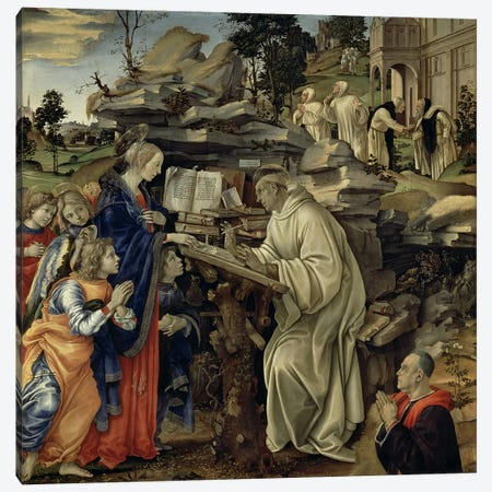 The Vision of St. Bernard, c.1485-87  Canvas Print #BMN1278} by Filippino Lippi Canvas Art Print