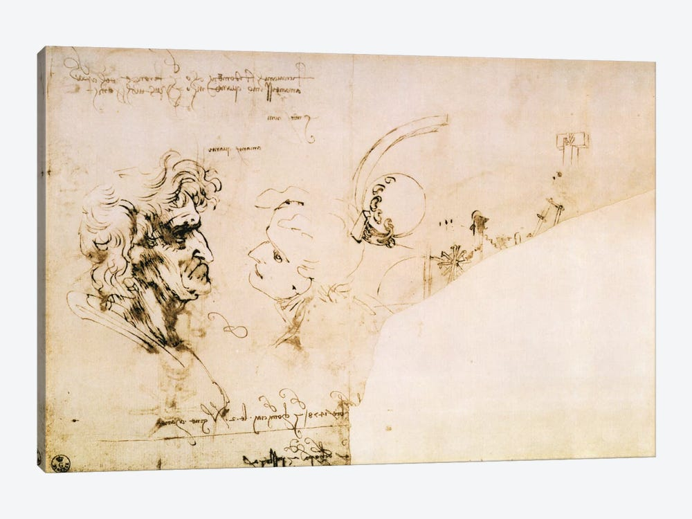 Study of Two Heads in Profile and Studies of Machines by Leonardo da Vinci 1-piece Canvas Art