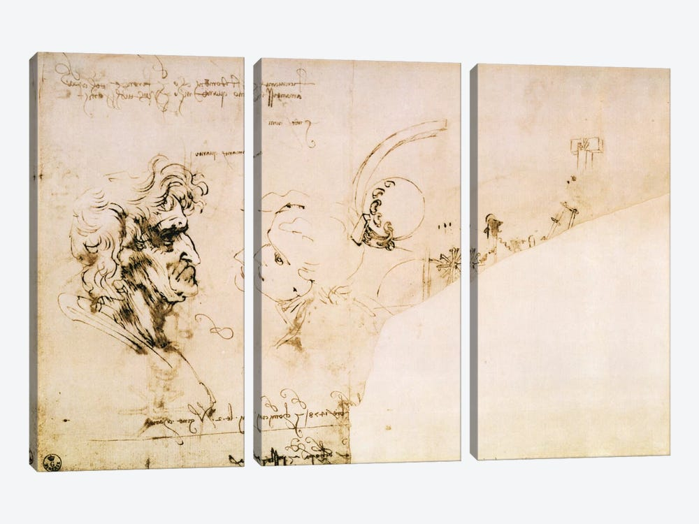 Study of Two Heads in Profile and Studies of Machines  by Leonardo da Vinci 3-piece Canvas Art