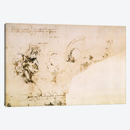 Study of Two Heads in Profile and Studies of Machines  Canvas Print #BMN1280} by Leonardo da Vinci Canvas Wall Art