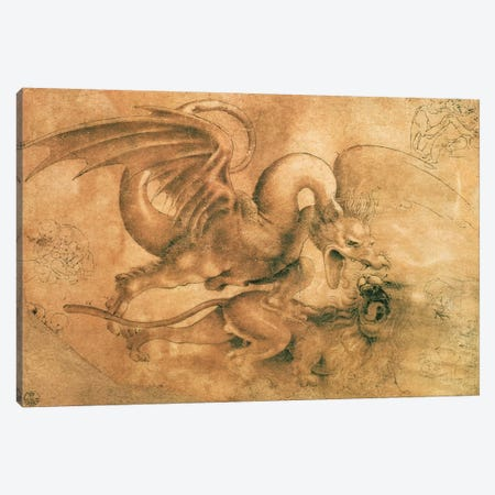 Fight between a Dragon and a Lion  Canvas Print #BMN1281} by Leonardo da Vinci Canvas Artwork