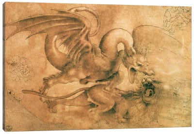 Fight between a Dragon and a Lion  Canvas Art Print