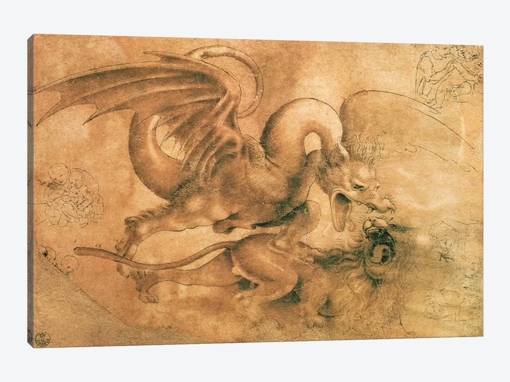 Fight between a Dragon and a Lion  by Leonardo da Vinci 1-piece Canvas Art Print