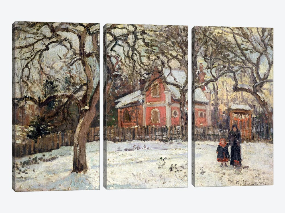 Chestnut Trees at Louveciennes, c.1871-2  by Camille Pissarro 3-piece Canvas Print