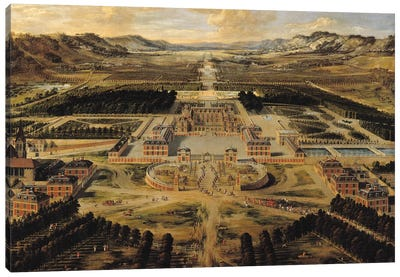 Perspective view of the Chateau, Gardens and Park of Versailles seen from the Avenue de Paris, 1668  Canvas Art Print