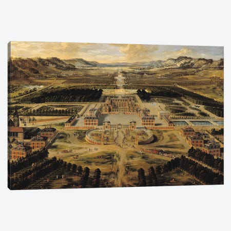 Perspective view of the Chateau, Gardens and Park of Versailles seen from the Avenue de Paris, 1668  Canvas Print #BMN1294} by Pierre Patel Canvas Artwork