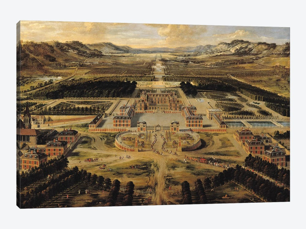 Perspective view of the Chateau, Gardens and Park of Versailles seen from the Avenue de Paris, 1668  by Pierre Patel 1-piece Canvas Art Print