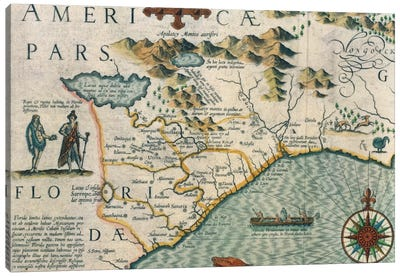 Coast of North Carolina, detail of the map titled 'Virginiae item et Floridae' from the Mercator 'Atlas...' of 1606, pub. by Jod Canvas Art Print