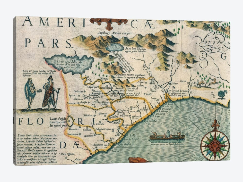 Coast of North Carolina, detail of the map titled 'Virginiae item et Floridae' from the Mercator 'Atlas...' of 1606, pub. by Jod by Jodocus Hondius 1-piece Canvas Artwork