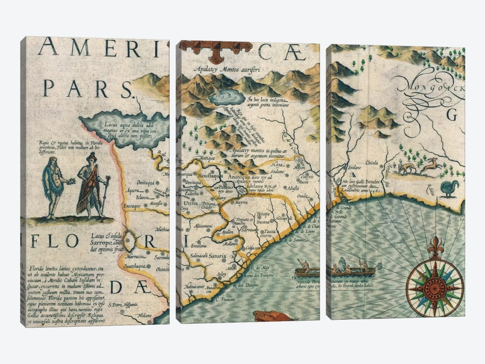 Coast of North Carolina, detail of the map titled 'Virginiae item et Floridae' from the Mercator 'Atlas...' of 1606, pub. by Jod by Jodocus Hondius 3-piece Canvas Art