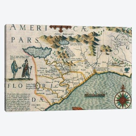 Virginiae Item et Floridae Americae Provinciarum, Nova Descriptio, Atlas Sive Cosmographie Canvas Print #BMN1297} by Jodocus Hondius Canvas Wall Art