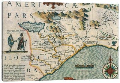Virginiae Item et Floridae Americae Provinciarum, Nova Descriptio, Atlas Sive Cosmographie Canvas Art Print