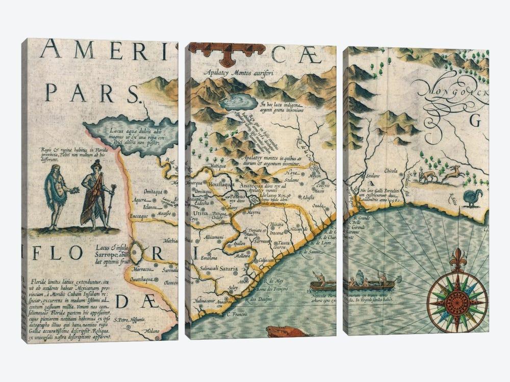 Virginiae Item et Floridae Americae Provinciarum, Nova Descriptio, Atlas Sive Cosmographie by Jodocus Hondius 3-piece Canvas Art