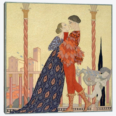 Lovers on a Balcony (w/c on paper) Canvas Print #BMN12} by George Barbier Canvas Art Print