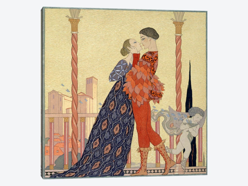Lovers on a Balcony (w/c on paper) by Georges Barbier 1-piece Canvas Print