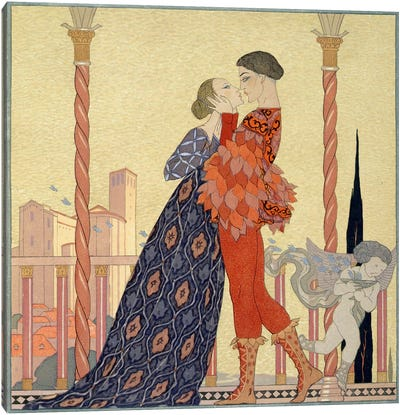 Lovers on a Balcony (w/c on paper) Canvas Art Print