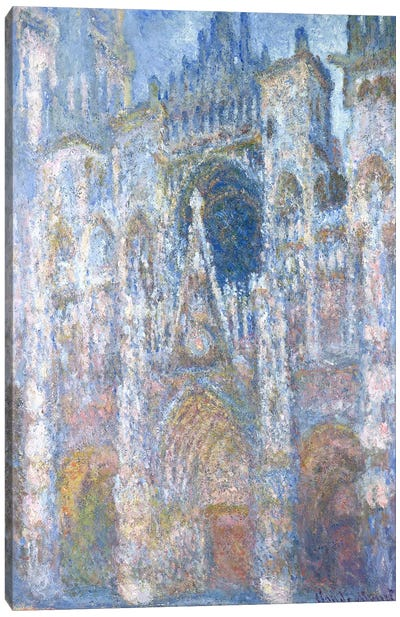 Rouen Cathedral, Blue Harmony, Morning Sunlight, 1894  Canvas Art Print