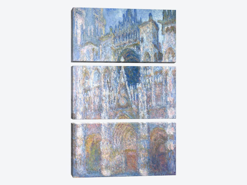 Rouen Cathedral, Blue Harmony, Morning Sunlight, 1894 by Claude Monet 3-piece Art Print